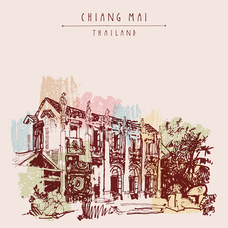 lanna: Chiang Mai, Thailand, Asia. Nice eclectic style building with reliefs and sculptures. Vintage hand drawn postcard template or book illustration in vector