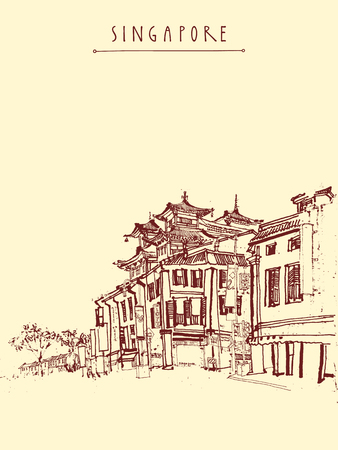 monasteries: Singapore China town drawing. Vintage travel postcard or poster with hand lettering