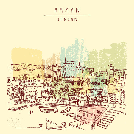 Capital city of Amman, Jordan, Middle East. Colorful vintage artistic hand drawn postcard Ilustração