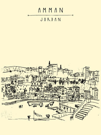 middle east: Capital city of Amman, Jordan, Middle East. Historical place, ancient Roman amphitheater. Vintage artistic hand drawn postcard, poster template or book illustration in vector
