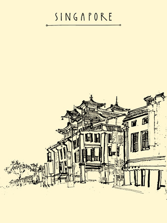 china town: Singapore China town drawing. Vintage travel postcard or poster with hand lettering