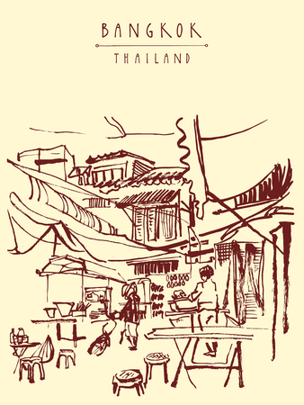 eatery: China town in Bangkok, Thailand. Food stalls, tables, stools. People buying Chinese food in a simple street cafe. Vertical vintage hand drawn postcard