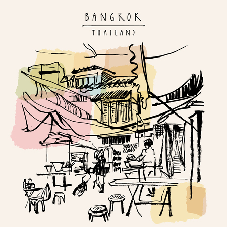 China town in Bangkok, Thailand. Food stalls, tables, stools. People buying Chinese food in a simple street cafe. Vintage hand drawn postcard