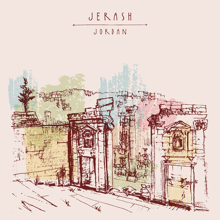 Ancient Roman city of Jerash, Jordan, Middle East. Colorful vintage artistic hand drawn postcard Ilustração