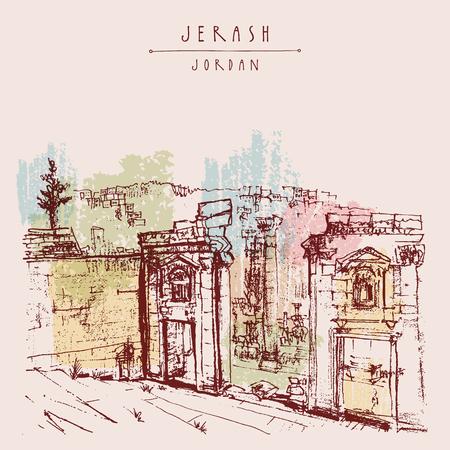 ancient roman: Ancient Roman city of Jerash, Jordan, Middle East. Colorful vintage artistic hand drawn postcard Illustration