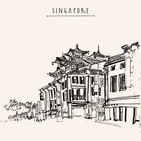 chinese pagoda: Singapore China town drawing. Vintage travel postcard or poster with hand lettering