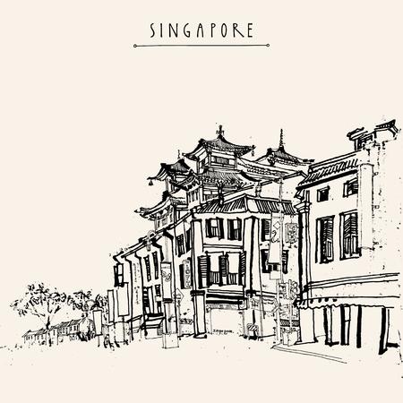 Singapur China Stadt Zeichnung. Weinlesereise Postkarte oder Poster mit Hand Schriftzug Vektorgrafik