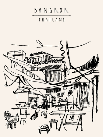 China town in Bangkok, Thailand. Food stalls, tables, stools. People buying Chinese food in a simple street cafe. Vertical vintage hand drawn postcard
