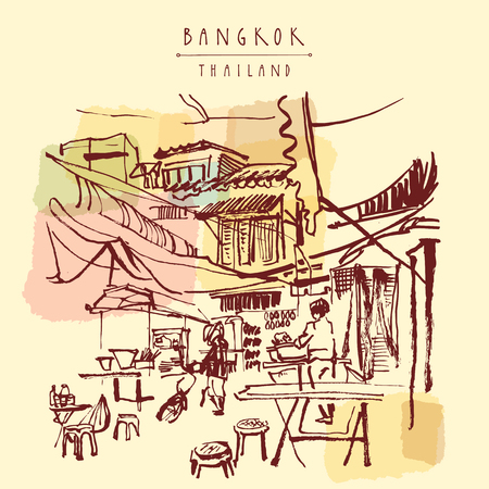 food market: China town in Bangkok, Thailand. Food stalls, tables, stools. People buying Chinese food in a simple street cafe. Vintage hand drawn postcard