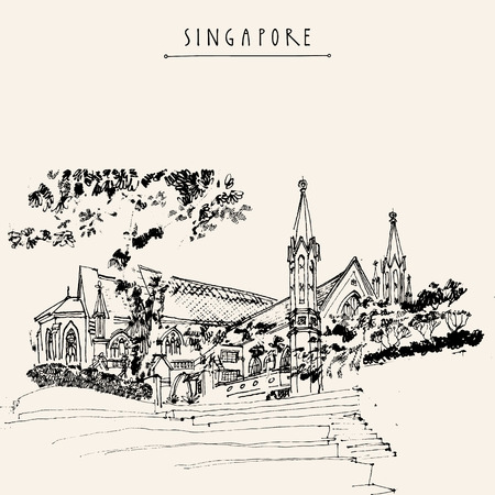 architecture drawing: St Andrews Cathedral, Singapore. Travel hand drawn postcard or poster with hand lettering