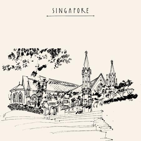 St. Andrews Cathedral, Singapur. Reisen handgezeichnete Postkarte oder Poster mit Hand Schriftzug Standard-Bild - 48079817