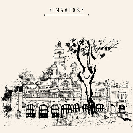 Singapore fire station black and white drawing. Vintage travel postcard or poster with hand lettering