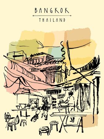 China Town in Bangkok, Thailand. Essensstände, Tische, Hocker. Menschen kaufen Chinesisches Essen in einem einfachen Straßencafé. Vertical vintage handgezeichnete Postkarte Standard-Bild - 48079826