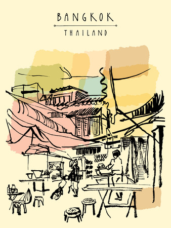 food illustrations: China town in Bangkok, Thailand. Food stalls, tables, stools. People buying Chinese food in a simple street cafe. Vertical vintage hand drawn postcard