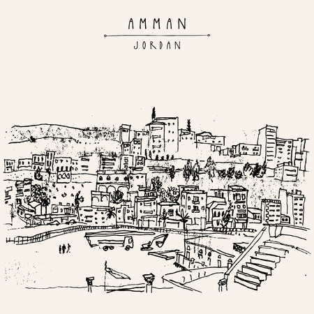 ancient roman: Capital city of Amman, Jordan, Middle East. Historical place, ancient Roman amphitheater. Vintage artistic hand drawn postcard, poster template or book illustration in vector