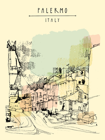 antique paper: Palermo, Italy, Europe. Residential buildings, town square, city streetArtistic illustration. Travel sketch drawing. Retro poster, postcard template, book illustration in vector. Hand lettering