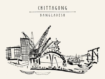 port: Port in Chittagong, Bangladesh, Asia. Vintage hand drawn postcard, poster or book illustration in vector