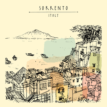 Sorrento, Italy, Europe. Above view. Vesuvio volcano, trees, sea. Sketchy line art. Artistic illustration drawing. Hand lettering. Touristic postcard poster template, book illustration in vector Çizim