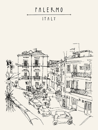 View of Palermo, Italy, Europe. Nice historical buildings, town square, car park, palm trees. Travel sketchy drawing. Touristic poster, postcard template, book illustration in vector  イラスト・ベクター素材