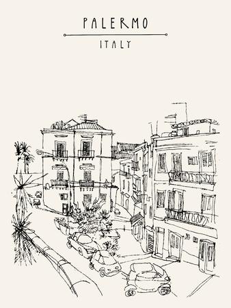 Ansicht von Palermo, Italien, Europa. Schöne historische Gebäude, Stadtplatz, Parkplatz, Palmen. Reisen skizzen Zeichnung. Touristische Plakat, Postkarte Vorlage, Buchillustration in Vektor