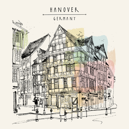 touristic: Old town in Hanover, Germany, Europe. Freehand drawing. Travel sketch. Vintage touristic postcard, poster template or book illustration in vector