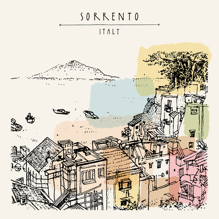Sorrento, Italy, Europe. Above view. Vesuvio volcano, trees, sea. Sketchy line art. Artistic illustration drawing. Hand lettering. Touristic postcard poster template, book illustration in vector Vectores