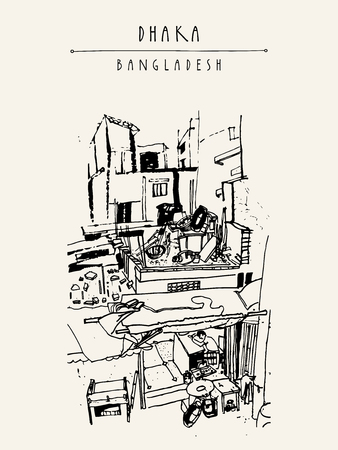 daily life: Houses and daily life in Dhaka, Bangladesh, Asia.  Vintage hand drawn postcard in vector