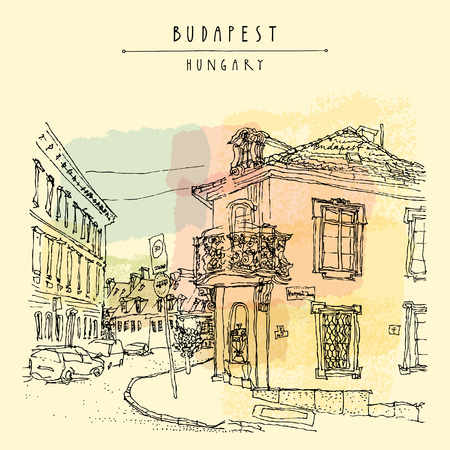 postcard vintage: Street corner in Budapest city, Hungary, Europe. Architectural hand drawing. Travel sketch. Book illustration. Vintage touristic postcard, poster template in vector