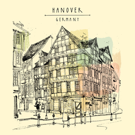 curb: Old town in Hanover, Germany, Europe. Freehand drawing. Travel sketch. Vintage touristic postcard, poster template or book illustration in vector