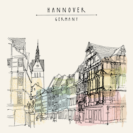 belfry: Hanover, Germany, Europe. Pedestrian street with historic traditional German timbered houses and church belfry. Hand drawn touristic postcard, poster template or book illustration in vector