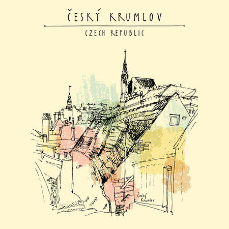 old town: Old town houses in Cesky Krumlov (Bohemian Crumlaw), Czech Republic, Europe. Handdrawn postcard in vector
