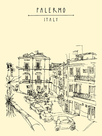 italy street: View of Palermo, Italy, Europe. Nice historical buildings, town square, car park, palm trees. Travel sketchy drawing. Touristic poster, postcard template, book illustration in vector Illustration