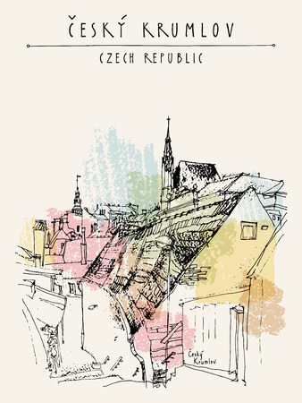 Old town houses in Cesky Krumlov (Bohemian Crumlaw), Czech Republic, Europe. Handdrawn postcard in vector