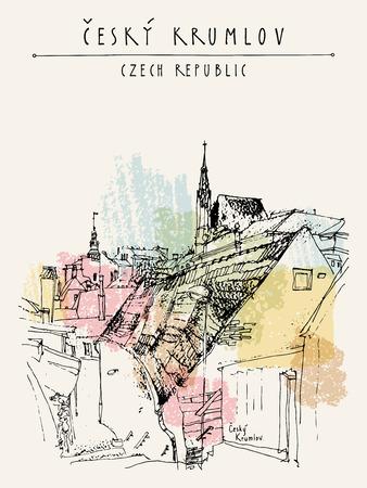 Stare kamienice w Czeskim Krumlowie (Czechy Czeskie), Czechy. Handdrawn pocztówka w wektorze
