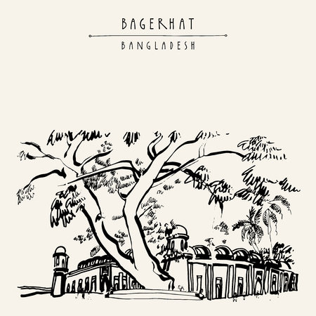 unesco: Mosque City of Bagerhat. Bangladesh, Asia. A UNESCO World Heritage Site. Vintage hand drawn postcard in vector