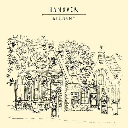 church ruins: Abandoned church ruins and old cemetery in Hanover, Germany, Europe. Freehand drawing. Travel sketch. Vintage touristic postcard, poster template or book illustration in vector