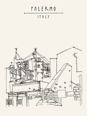 shanty: Palermo, Sicily, Italy. Artistic illustration of the fetid backstreets of the shanty town. Retro style freehand drawing. Book illustration. Travel postcard or poster template in vector