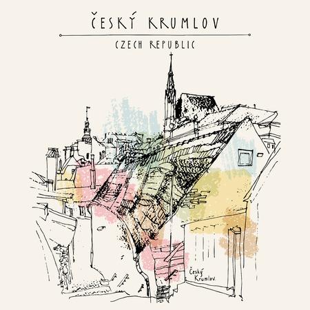 unesco: Old town houses in Cesky Krumlov (Bohemian Crumlaw), Czech Republic, Europe. Handdrawn postcard in vector