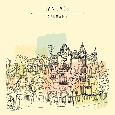 historical building: Old town in Hanover, Germany, Europe. Nouveau historical building, trees. Freehand drawing. Travel sketch. Vintage touristic postcard, poster template or book illustration in vector