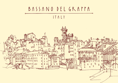 belfry: Bassano del Grappa, Italy. Panoramic view, waterfront. Italian historic buildings in old town. Retro style touristic postcard, poster template or book illustration in vector