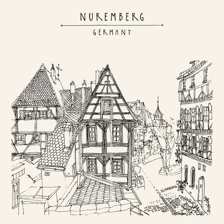 Nuremberg, Germany, Europe. Old town view with historic traditional German timbered houses. Book illustration. Artistic hand drawn touristic postcard, poster template in vector