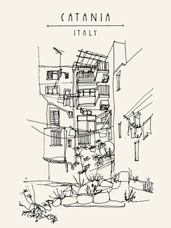 trashy: Catania, Sicily, Italy. Illustration of a backyard with windows, balconies, rocks, grass. Retro style sketchy freehand drawing. Travel postcard, poster or book illustration in vector