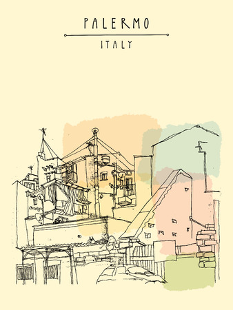 fetid: Palermo, Sicily, Italy. Artistic illustration of the fetid backstreets of the shanty town. Retro style freehand drawing. Book illustration. Travel postcard or poster template in vector