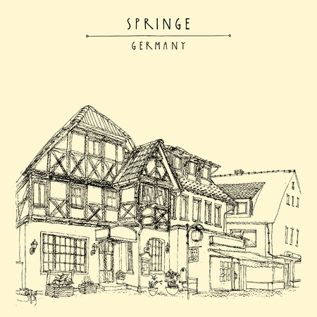 historical building: Old town Springe, Germany, Europe. Historical building line art. Freehand drawing. Travel sketch, hand lettering. Vintage postcard, poster template