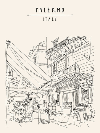 cozy: Street cafe in Palermo, Sicily, Italy. Artistic illustration of a cozy nice place with people. Retro style freehand drawing. Book illustration. Vertical travel postcard or poster template in vector