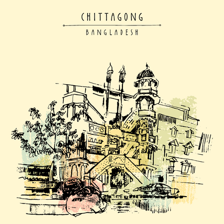 masjid: Chandanpura Masjid with multiple domes and minarets. A beautiful mosque in Chittagong, Bangladesh, Asia.  Vintage hand drawn postcard in vector