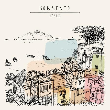 ソレント、イタリア、ヨーロッパ。ビューの上。ベスビオ火山、木、海。スケッチ ライン アート。芸術的なイラストを描きます。手レタリング。観