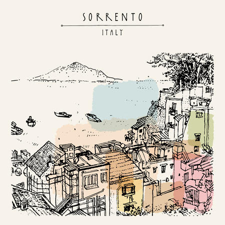 Sorrento, Italy, Europe. Above view. Vesuvio volcano, trees, sea. Sketchy line art. Artistic illustration drawing. Hand lettering. Touristic postcard poster template, book illustration in vector Иллюстрация