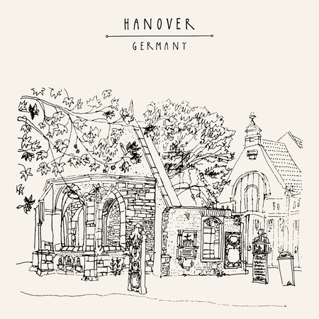 touristic: Abandoned church ruins and old cemetery in Hanover, Germany, Europe. Freehand drawing. Travel sketch. Vintage touristic postcard, poster template or book illustration in vector