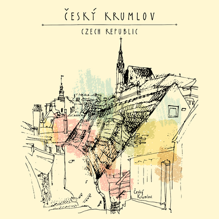 gothic architecture: Old town houses in Cesky Krumlov (Bohemian Crumlaw), Czech Republic, Europe. Handdrawn postcard in vector